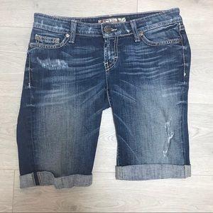 BKE Stella Distressed Cut-Off Bermuda Shorts 27